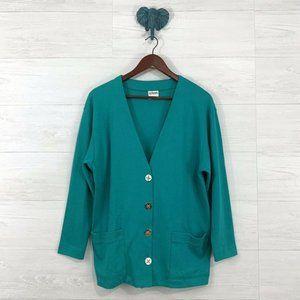 ❤️ RARE Vintage Green Teal Long Button Up Cardigan